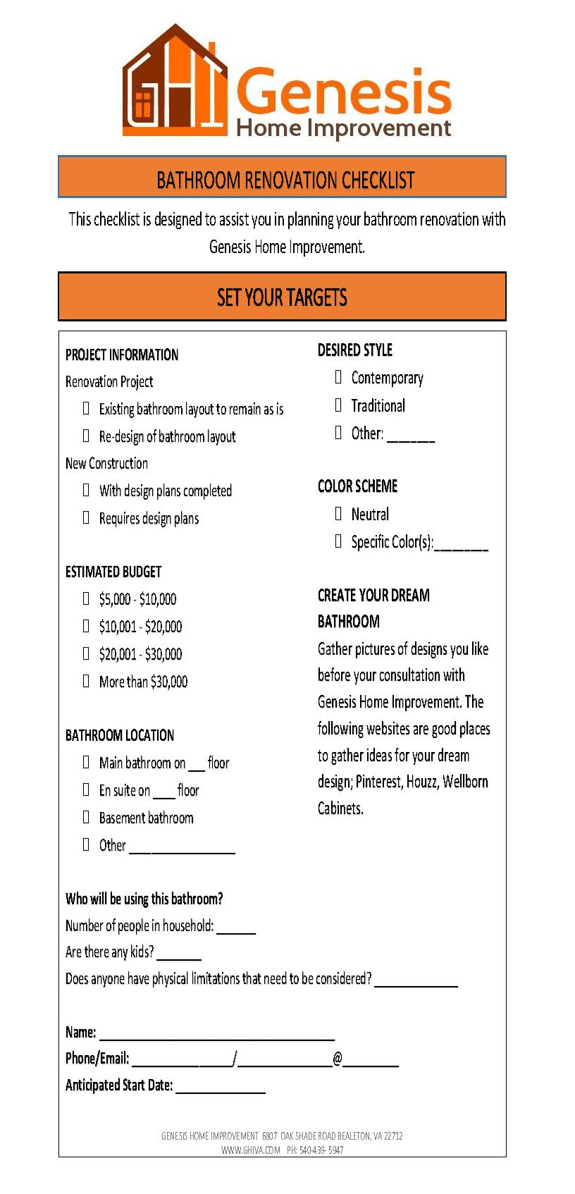 Bathroom Renovation Checklist Cool Budget Reno Ideas Budget – Bathroom Renovation Checklist