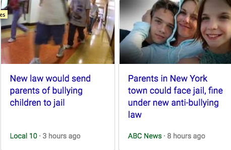 Parents Of Bullies Will Get A Hefty Fine And Up To !5 Days In Jail!
